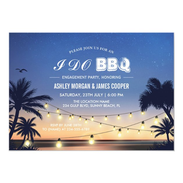 Beach Sunset String Lights I DO BBQ Engagement Card (front side)