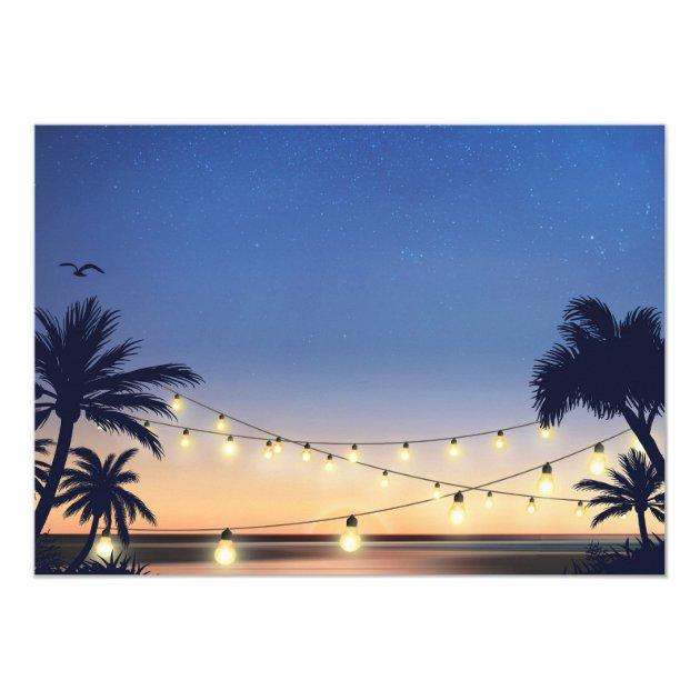 Beach Sunset String Lights I DO BBQ Engagement Card (back side)
