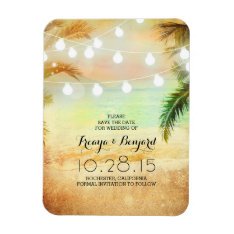 Beach Sunset String Lights Palms Save The Date Magnet at Zazzle