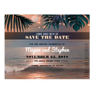Beach Sunset String Lights Palms Save the Date Postcard