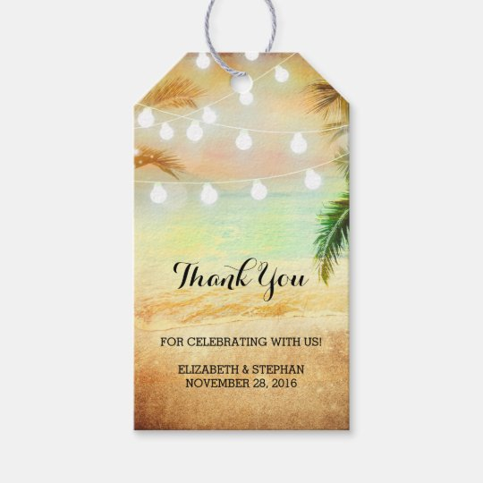 Wedding Thank You Gift Tags: Beach Sunset String Lights Palms Wedding Thank You Gift