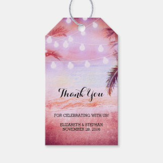 Beach Sunset String Lights Palms Wedding Thank You Gift Tags