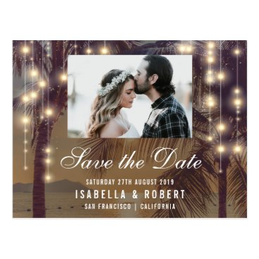 Beach Themed Beach Sunset & String Lights Photo Save The Date Postcard