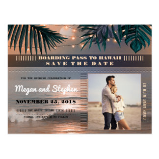 Beach Sunset String Lights Photo Save the Date Postcard