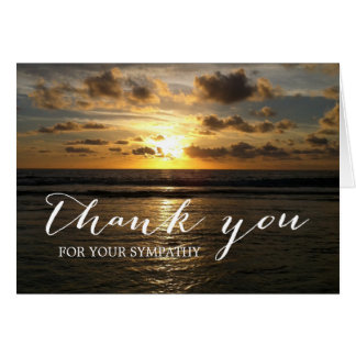 Beach Sunset Sympathy Memorial Thank You Card