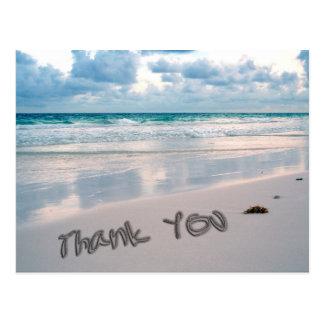 Beach Sunset Thank You Sand Writing Postcard