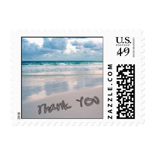 Beach Sunset Thank You Sand Writing Stamp