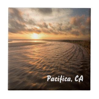 Beach Sunset tile: Montara Beach, Pacifica CA Small Square Tile
