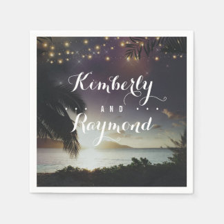 Beach Sunset Tropical Wedding Napkin