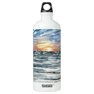 beach sunset water bottle