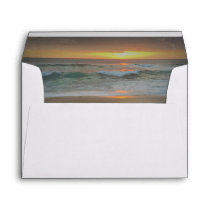 Beach Sunset Waves Romantic Wedding Envelope