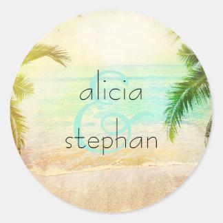 Beach Sunset Wedding Classic Round Sticker
