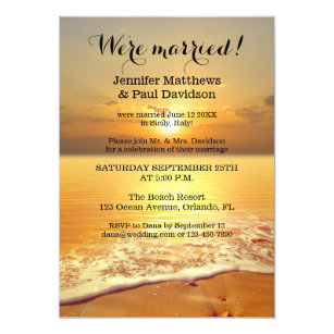 Beach Sunset Wedding Reception Photo Invitation
