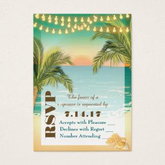 Beach Sunset Wedding RSVP Business Card