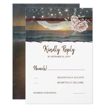 lovelywow Beach Sunset Wedding RSVP Card