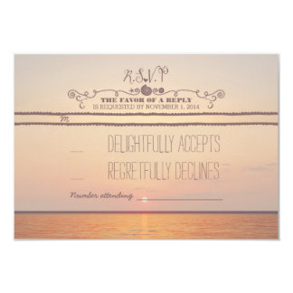 beach sunset wedding RSVP card
