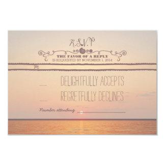 beach sunset wedding RSVP card