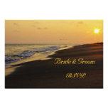 Beach Sunset Wedding RSVP Card Personalized Invitation