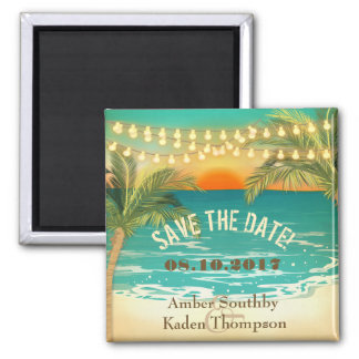Beach Sunset Wedding Save the Date 2 Inch Square Magnet