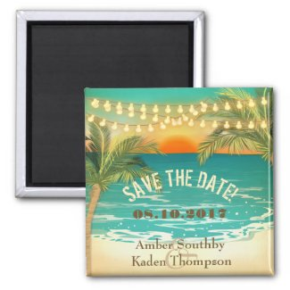 Beach Sunset Wedding Save the Date Magnet