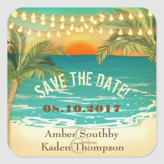Beach Sunset Wedding Save the Date Square Sticker