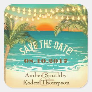Beach Sunset Wedding Save the Date Square Sticker