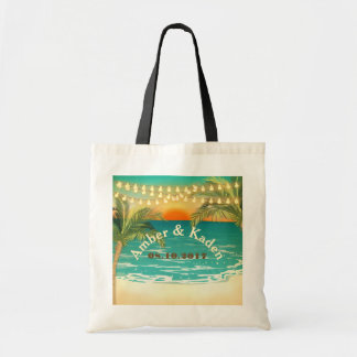 Beach Sunset Wedding Tote Canvas Bag