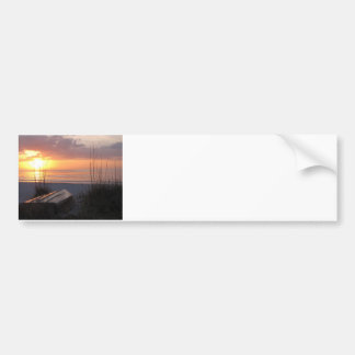 Beach Sunset with Boat Bumper Sticker