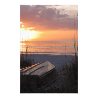 Beach Sunset with Boat Personalized Stationery