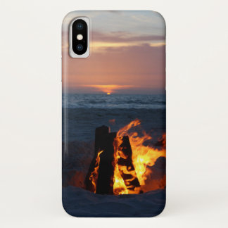Beach Sunset with Bonfire iPhone X Case