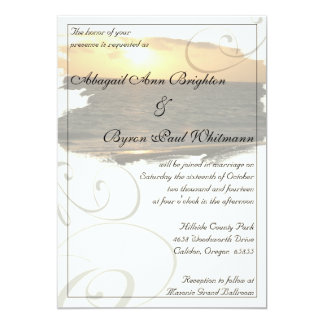 Beach Sunset with Flourishes Wedding Invitation