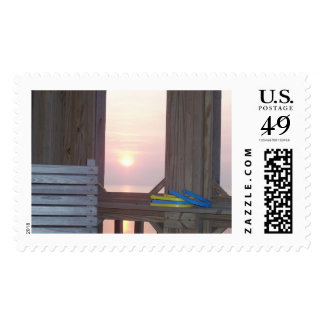 Beach Sunset with Horseshoes Postage Stamps