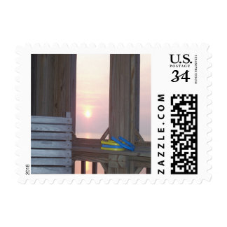 Beach Sunset with Horseshoes Postage Stamp