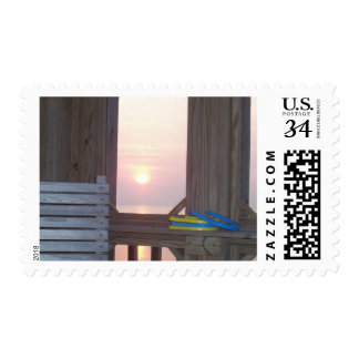 Beach Sunset with Horseshoes Stamp