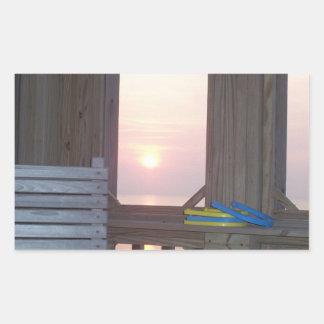 Beach Sunset with Horseshoes Rectangular Sticker