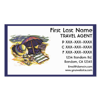 Beach supplies theme Travel agent business cards