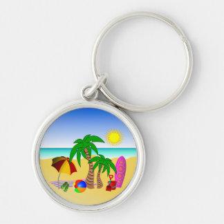 Beach Surf Fun Colorful Premium Round Key Rings Keychain
