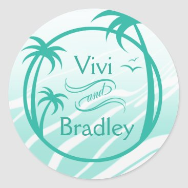 Beach Themed Beach Surf Palm Logo | aqua Classic Round Sticker