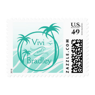 Beach Surf Palm Logo | aqua Postage
