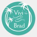 Beach Surf Palm Logo | aqua Sticker