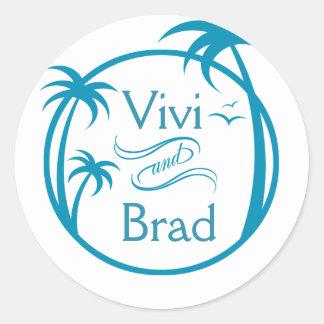 Beach Surf Palm Logo   blue Classic Round Sticker
