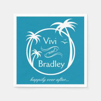 Beach Surf Palm Logo | blue Standard Cocktail Napkin