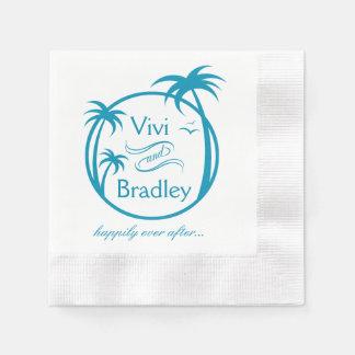 Beach Surf Palm Logo | blue Coined Cocktail Napkin