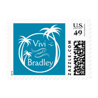 Beach Surf Palm Logo | blue Postage