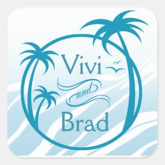 Beach Surf Palm Logo | blue Square Sticker