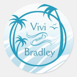 Beach Surf Palm Logo | blue Classic Round Sticker