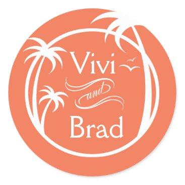 Beach Themed Beach Surf Palm Logo   peach Classic Round Sticker