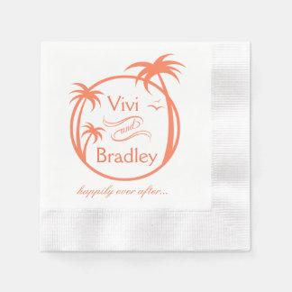 Beach Surf Palm Logo | peach Paper Napkin