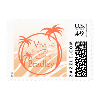 Beach Surf Palm Logo | peach Postage