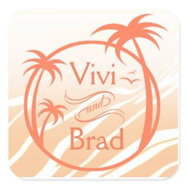 Beach Themed Beach Surf Palm Logo   peach Square Sticker